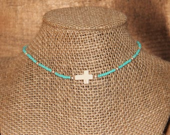 Turquoise Beaded Cross Choker