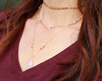 Rose Quartz teardrop necklace