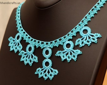 A set of Handmade beaded lace necklace & bracelet - produced by local Women of Cappadocia ( in Central Turkey )