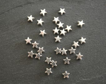 Set of 10 beads, spacers, stars, silver, 6 x 6 mm