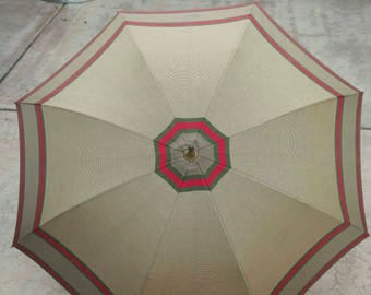 Vintage GUCCI Cotton Umbrella Red Green Stripes