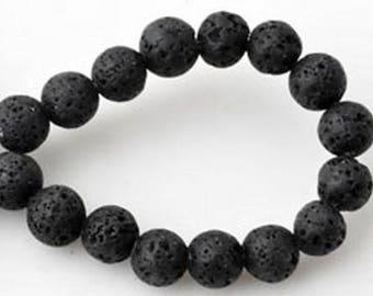 Set of 20 black pearls 6 mm volcano lava stone