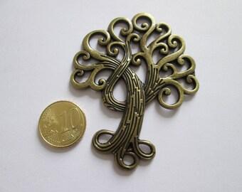 1 grand pendentif arbre en métal bronze 74 x 53 mm