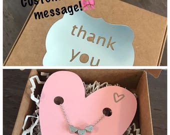 CUSTOMIZED MESSAGE triple heart necklace in gold, silver or rose gold!