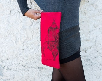Handbag-Shoulder bag-zip-red-Accessories-case-print-engraving-object holder-clothing-unisex-handmade