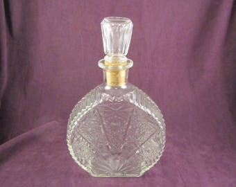 Pressed Glass Liquor Decanter with Cork Stopper