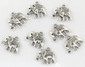 14 bc087 antiqued silver elephant charms