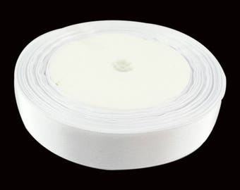 22 meters of satin ribbon double sided 20 mm white color