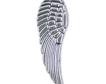 large 50 mm metal wing charms 2 silver bc247 aged