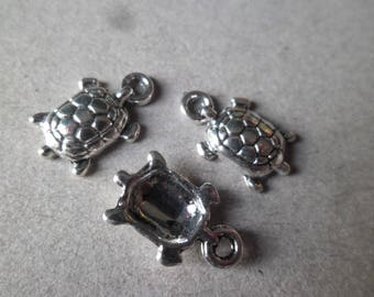x 10 pendants/charm turtle pattern silver 15 x 9 mm