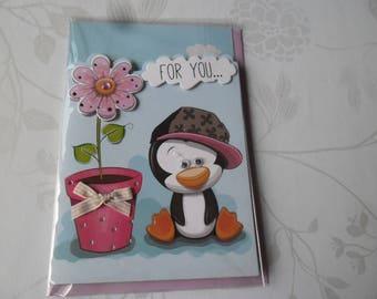 x 1 card double 3D multicolored Penguin motif + envelope blue 18 x 12 cm