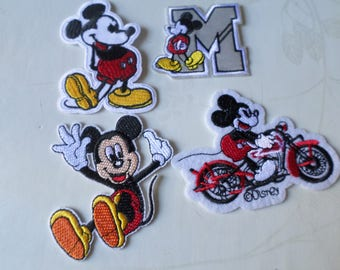 x 4 applique badge patch fusible Mickey