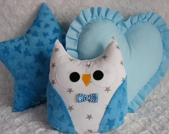 3 PCS SET star,owl,heart, cushions,pillow,pink,gray,blue,mint,baby,girl,boy,cute,gift,gift idea,birthday,kids room,
