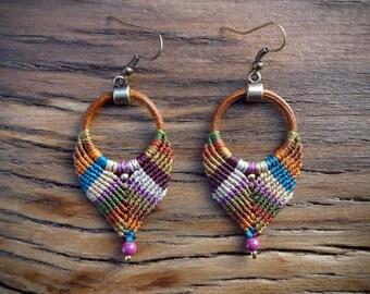 macrame earrings, leather earrings, gipsy boho style, handcrafted earrings, brown leather