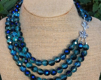 Triple Strand Charleston Necklace w/ Sterling Clasp
