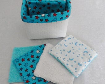 "15 wipes washable wipes ""stars"" cotton and sponge in their matching pouch"