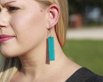 Miranda Turquoise Earrings | Leather Earrings | Birthday Gift | Anniversary | Gifts under 25 | Handmade | Gifts for Her