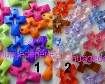 16 cross pendants mixed color 35mm