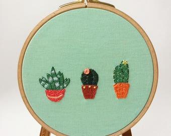 House Plants hoop - hand embroidered