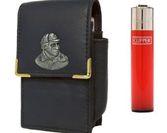 Sherlock Holmes cigarette packet holder with Clipper gas lighter