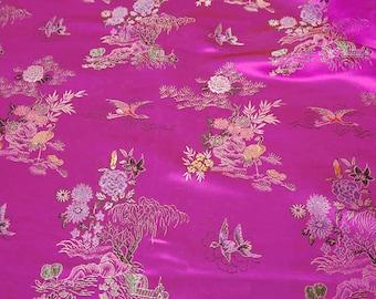 Hot pink Chinese satin 100% polyester - price per meter fabric