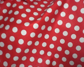 Cut of fabric 100% cotton red polka dots with 10 mm