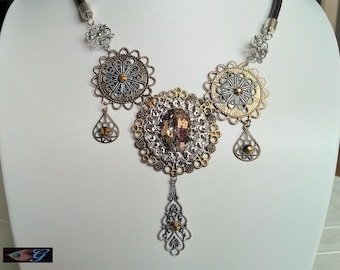 Bronze and silver rose necklace