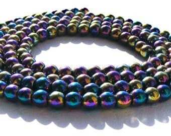 10 hématites aimantés de 4 mm perle pierre multicolore aimanté.