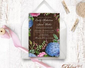 Rustic Wedding Invitation Garden Wedding Hydrangea Invitation Printable Flower Invite Outdoor Wedding Rustic Wood Floral Invitation Template