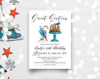 Sweet Sixteen Birthday Invitation Winter Sweet 16 Birthday Invite Watercolour Cake Invitation Printable Birthday Party Invite Editable text