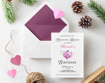 Valentine Heart Birthday Invitations Adult Birthday Dinner Printable Invites Watercolor Pink Heart Invitation February Birthday Party Invite