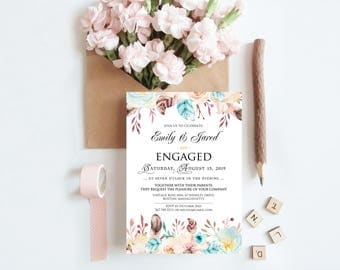 Boho Floral Engagement Invitations Engagement Party Invites Printable Template Watercolor Floral Engagement Dinner Invitation Spring Wedding