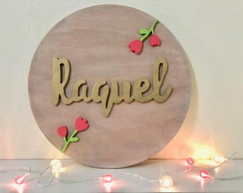 "14"" Round Personalized Baby Name Wood Sign I Nursery Decor 