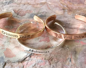 College stackable cuff bracelet in silver, gold or rose gold