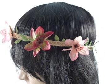 Wedding - pink/Burgundy flower Crown headband