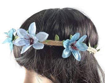 Blue - wedding flower Crown headband