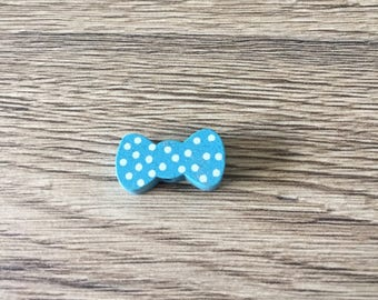 Wood bow tie - TURQUOISE bead