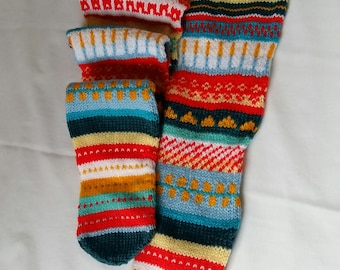 Knitted Knee Long  Socks - Size 5-7 (UK) - Leg Warmers, Ankle Warmers, Wool , Gift Ideas, For Her, Winter Accessories