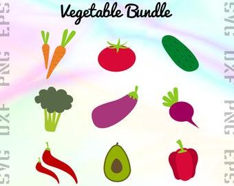 Vegetables SVG Files - Salad Clipart - Veggies Cricut Files - Vegetables Dxf Files - Vegetables Cut Files - Veggies Png - Svg, Dxf, Png, Eps