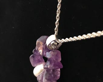 Amethyst pearl pendant necklace