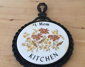 "Vintage Ceramic Tile and Cast Iron Trivet ""#1 Mom Kitchen"" by Midstate"
