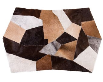 "Contemporary Ethically Sourced Octagon Geometry Cowhide Patchwork Rug, Hair-On Genuine Bovine Leather, Modern Premium Quality, 3'7"" x 5'9"""
