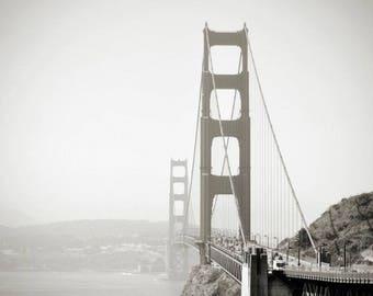 Photo Print, Black White San Francisco Print Art, Black White Landscape Golden Gate Bridge Photography, Monochrome Beautiful Sunset Picture