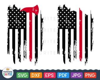 Fire Dept Red Line Svg Fireman Distressed Flag Svg Firefighter Cut Files Fire Axe Vinyl Decal Design T-shirt Clip art for Cricut Silhouette