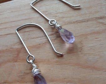 Tiny Amethyst Briolette Earrings