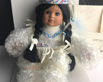 Marie Osmond Tiny Tot Porcelain Doll with Box and papers necklace certificate Native