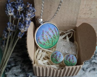 Purple mother gift Embroidery jewelry set earring Purple violet wife jewelry Embroidered lavender in pendant Eco pendant Botanical necklace