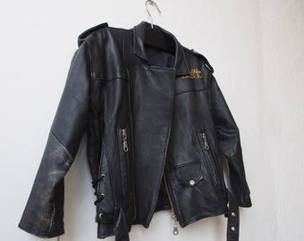 "Petite 90's Cropped Leather Biker Jacket, Perfecto Motorcycle Jacket, RARE! Disney ""The Lion King"", Embroidery Embellishment Back"