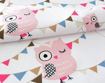 Fabric linen and soft cotton owls and wreath background ecru x 50cm