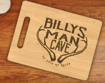 Personalized MAN CAVE, My Cave My Rules Custom Name Engraved Cutting Board